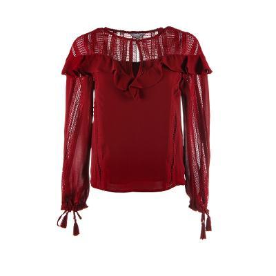 shoulder frill detail blouse burgundy